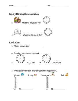 Grade 1 ontario time test