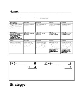 Grade one addition and subtraction test and rubric