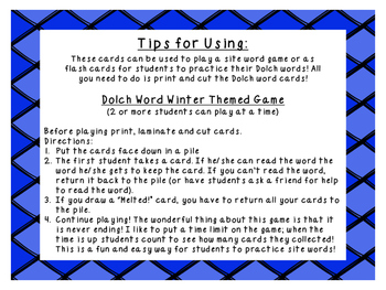 Grade 1 winter themed Dolch word game
