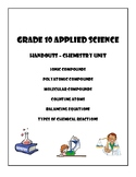 Grade 10 Applied Chemistry Worksheets