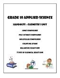 Grade 10 Applied Chemistry Worksheets
