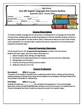 Grade 10 English Language Arts Course Outlines (Regular and Advanced)