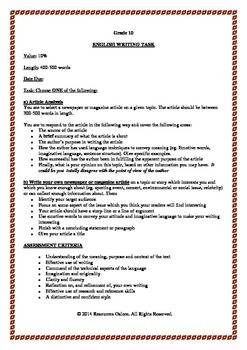 Grade 10 English Writing Assignment