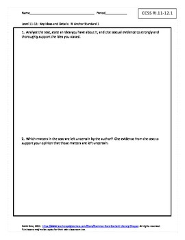 Grade 11-12 CCSS Graphic Organizers for Informational Texts