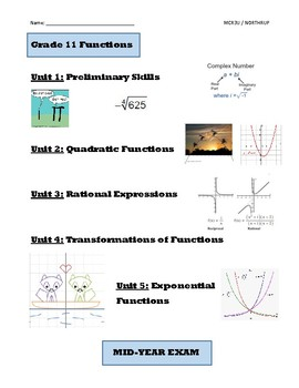 Grade 11 Functions Course Pack, MCR3U, Book 1 (Lessons, Tests, Exam Review)