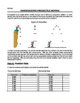 Grade 11 Physics - Kinematics: 11 Projectile Motion Investigation