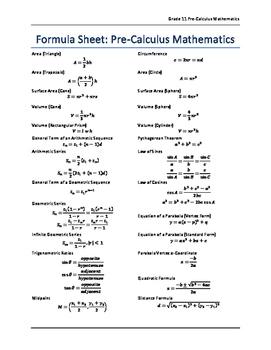 Grade 11 Pre-Calculus Formula Sheet