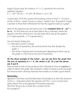 Grade 11 Revision booklet / mini textook for MCF3M/MCR3U Ontario curriculum