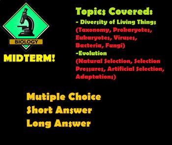 Grade 11 and 12 Biology MIDTERM (Biodiversity, Evolution)