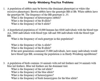Grade 11 and 12 Evolution Unit: Hardy-Weinberg!