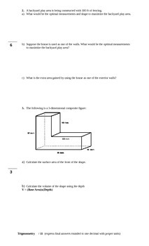 Grade 12 College Mathematics Culminating Activity/Exam Review