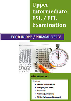 Grade 12 Upper Intermediate English as a Second Language (ESL) Exam Food Idioms