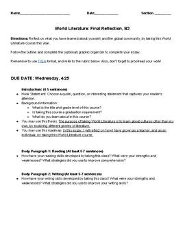 Grade 12, World Literature Final Reflection, Intervention Level