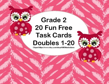 Grade 2 - 20 Fun Free Task Cards-Doubles up to 20