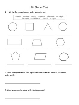 Grade 2 2D Shapes Test