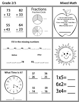 Grade 2 3 Mixed Math Worksheets Bundle By Tbu Inspired Digitals Tpt
