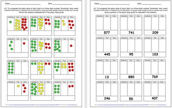 Grade 2  3 Place Value - 8 Worksheets / Activities - 11 pages 18 challenge cards