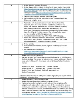 Grade 2-4 Core French Basics Review Unit Outline and Assessment