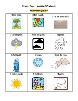 Grade 2-4 Core French Quel temps fait-il Weather Game