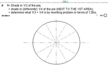 Grade 2-6 Fraction Problems w/PIE-SHAPED diagrams--512 problems,140 pgs