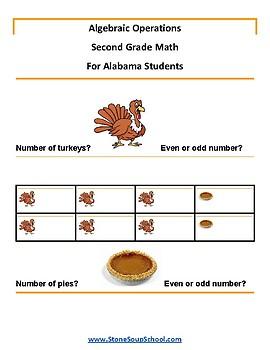 Grade 2 -  AL Alabama -  Algebraic Operations  - Common Core