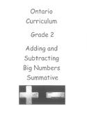 Grade 2 Adding and Subtracting Big Numbers Test (Ontario)