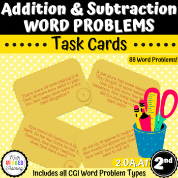 Grade 2 - Addition and Subtraction Word Problems - Task Cards