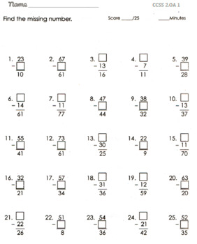 Common Core 2nd Grade Math-Addition and Subtraction Worksheets