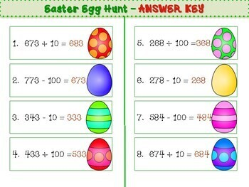 Grade 2 - Addition and Subtraction with 10 and 100 - Easter Egg Hunt
