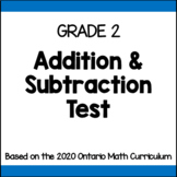 Grade 2 Addtion & Subtraction Test
