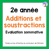Grade 2 Addition & Subtraction Quiz (French)