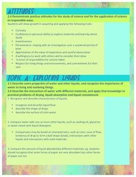 Grade 2 Alberta PoS Learner Outcome Chart: Science - Watercolor Theme