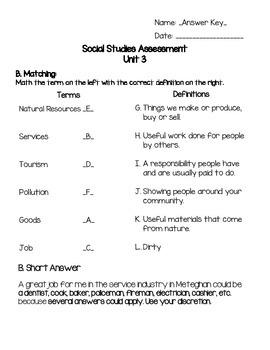 Grade 2 Alberta Social Studies Unit 3 Assessment