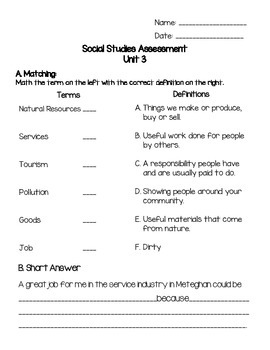 Grade 2 Alberta Social Studies Unit 3 Assessment