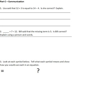 Grade 2 Algebra Assessment - Expressions and Equality