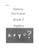 Grade 2 Algebra: Equality and Expressions Test (Ontario)