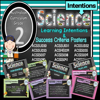 Grade 2 All SCIENCE Learning INTENTIONS/success criteria posters Aust Curric.