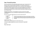 Grade 2 Animal Project Letter to Parents and Rubric