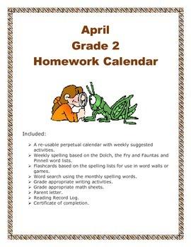 Grade 2 April Homework Calendar