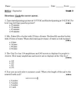 Grade 3 Beginning of Year Assessment