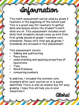 Grade 2: Beginning of Year Math Assessment