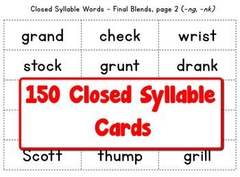 Grade 2 Closed Syllable Bingo