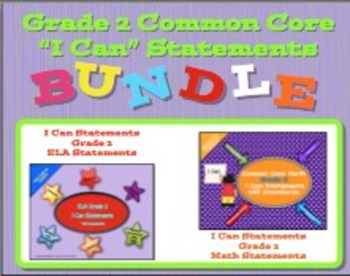 Grade 2 CC I Can Statements ELA & Math Bundle