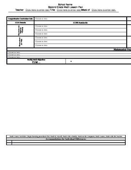 Grade 2 CCSS Math Lesson Plan Template