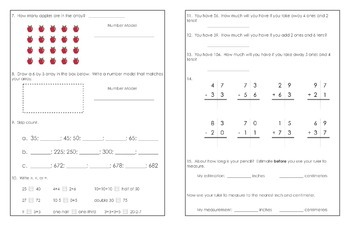 Grade 2 CCSS Math Quick Check - Part 1