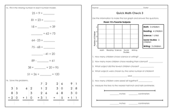 Grade 2 CCSS Math Quick Check - Part 3