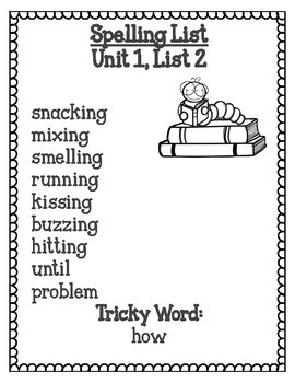 Grade 2 CKLA Spelling Lists for All Units plus Spelling Test Pages