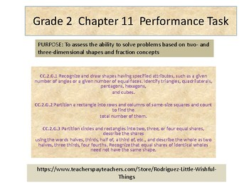 Grade 2 Chapter 11 Performance task as PDF