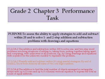 Grade 2 Chapter 3 Performance task as PDF
