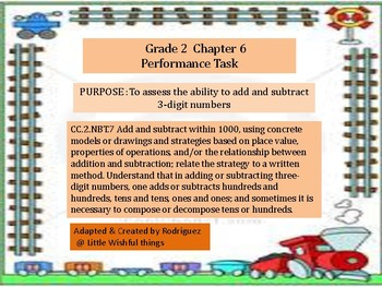 Grade 2 Chapter 6  Performance task as PDF